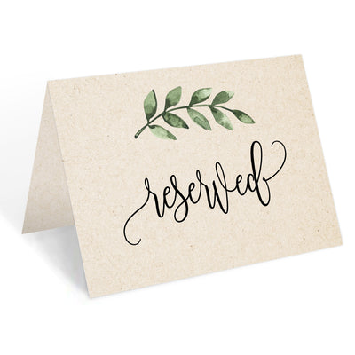 Reserved Place Cards - 4x6 - Green Leaves, Tan