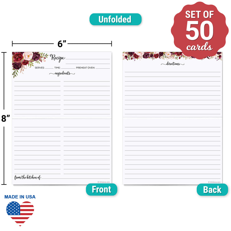 Folding Recipe Cards - 4x6 - Red Roses, White