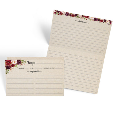 Folding Recipe Cards - 4x6 - Red Roses, Tan