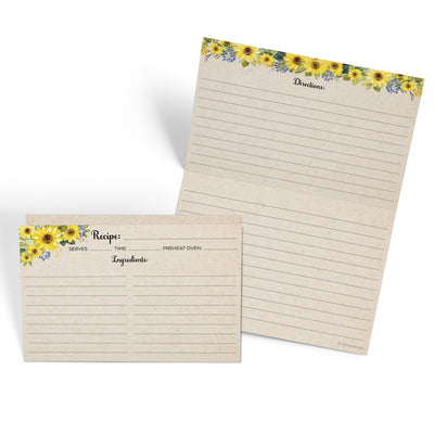 Folding Recipe Cards - 4x6 - Sunflower, Tan