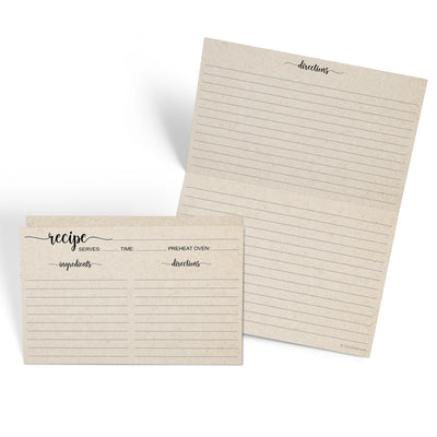 Folding Recipe Cards - 4x6 - Simple Script, Tan (Ing/Dir)