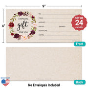 Gift Certificates  - Red Rose Wreath, Tan
