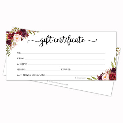 Gift Certificates  - Red Roses, White