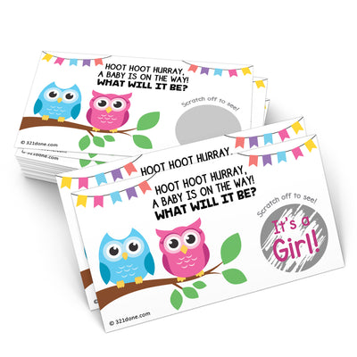 Baby Gender Reveal Scratch Off Cards  - Owl, Girl