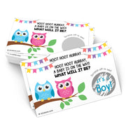 Baby Gender Reveal Scratch Off Cards  - Owl, Boy