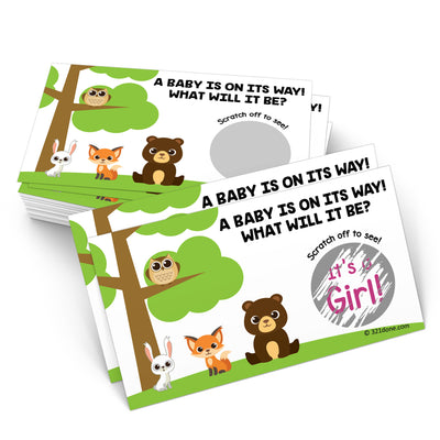 Baby Gender Reveal Scratch Off Cards  - Woodland, Girl