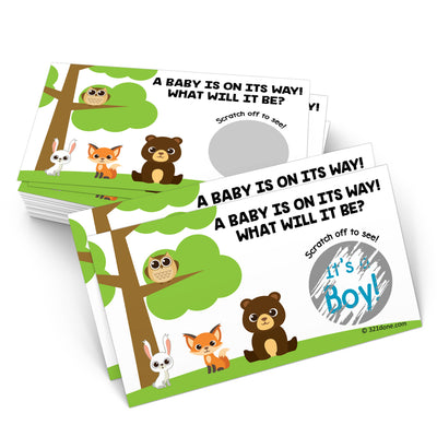 Baby Gender Reveal Scratch Off Cards  - Woodland, Boy