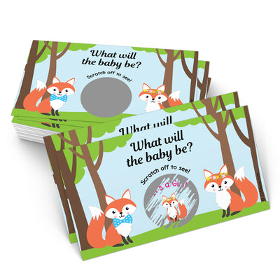 Baby Gender Reveal Scratch Off Cards  - Foxes, Boy