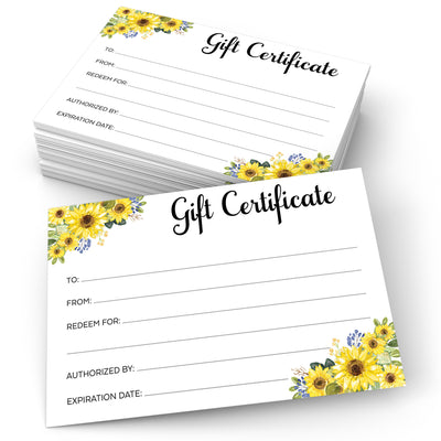 Gift Certificates  - 4x6 - Sunflower, White