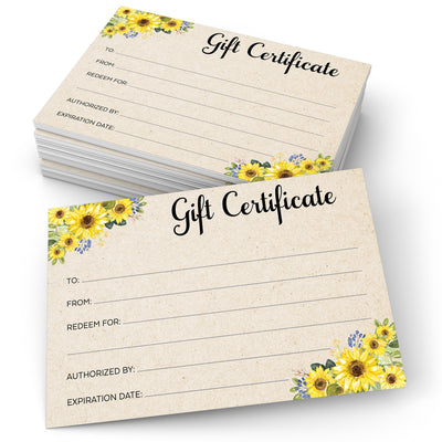 Gift Certificates  - 4x6 - Sunflower, Tan