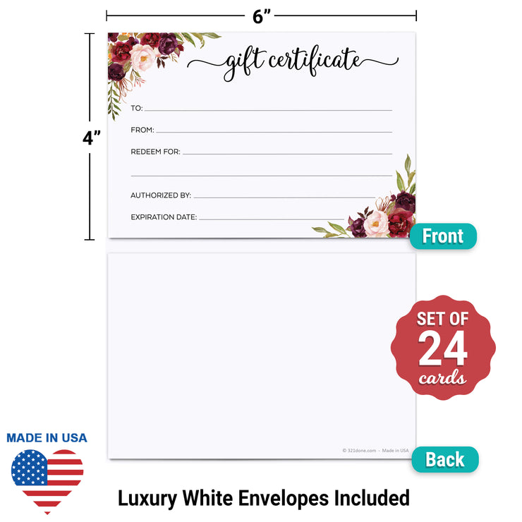 Gift Certificates  - 4x6 - Red Roses, White