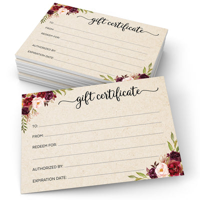 Gift Certificates  - 4x6 - Red Roses, Tan