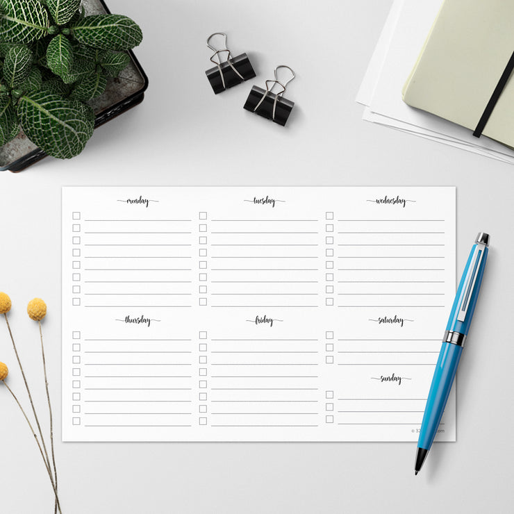 Weekly Checklist Notepad - 5.5x8.5 - Simple Script