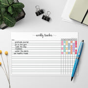 Weekly Habit Tracker Notepad, 5.5x8.5 - Simple Script