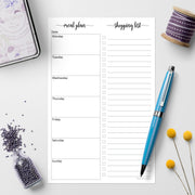 Meal Planning Notepad, 5.5x8.5 - Simple Script (Monday Start)