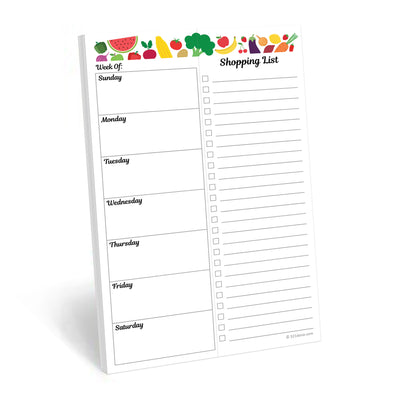 Meal Planning Notepad, 5.5x8.5 - Fruit Vegetable, Bad Magnet