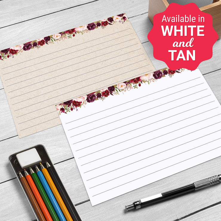 Ruled Index Cards - 3x5 - Red Roses, White