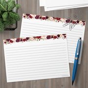Ruled Index Cards - 5x7 - Red Roses, White