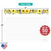 Ruled Index Cards - 5x7 - Sunflower, White