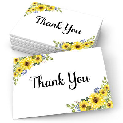 Thank You Note Cards - 4x6 - Sunflower, White