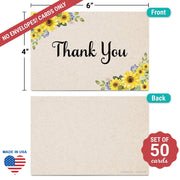 Thank You Note Cards - 4x6 - Sunflower, Tan