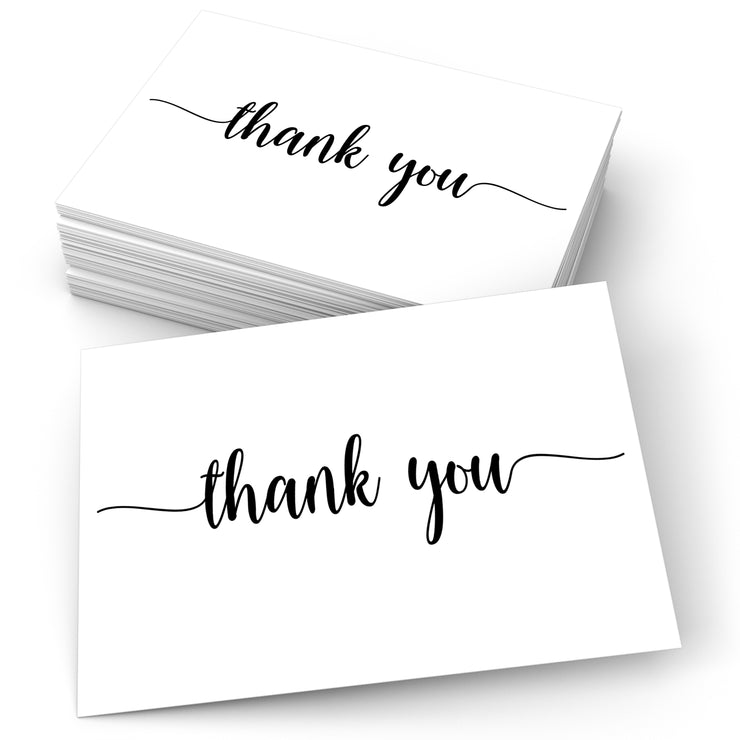 Thank You Postcards - Simple Script, White