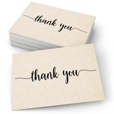 Thank You Note Cards - 4x6 - Simple Script, Tan