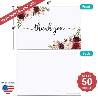 Thank You Note Cards - 4x6 - Red Roses, White