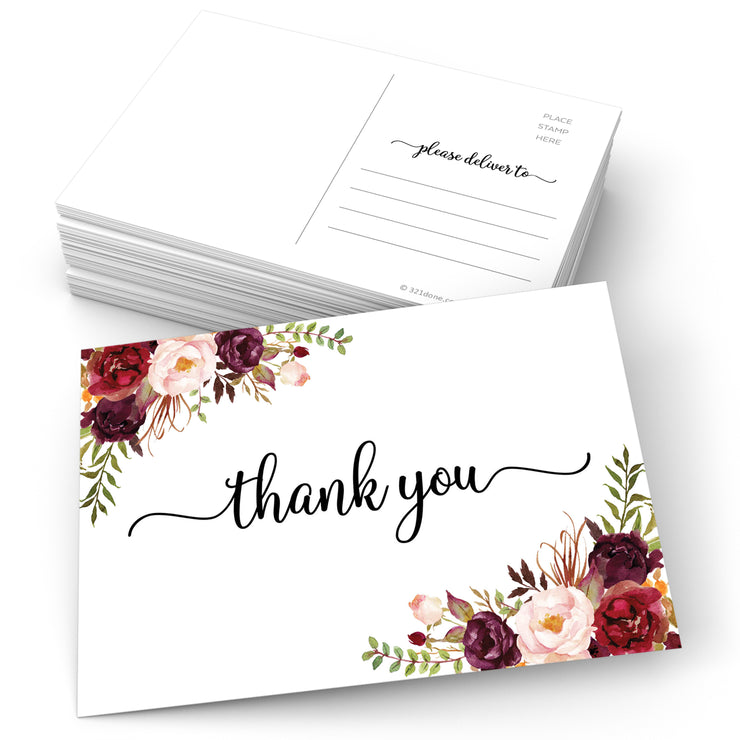 Thank You Postcards - Red Roses, White
