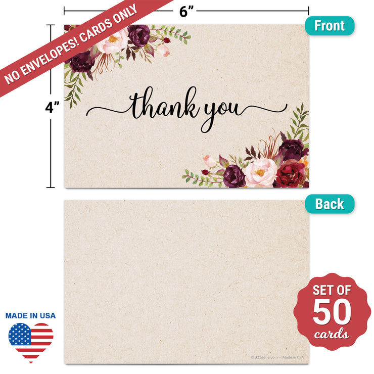 Thank You Note Cards - 4x6 - Red Roses, Tan