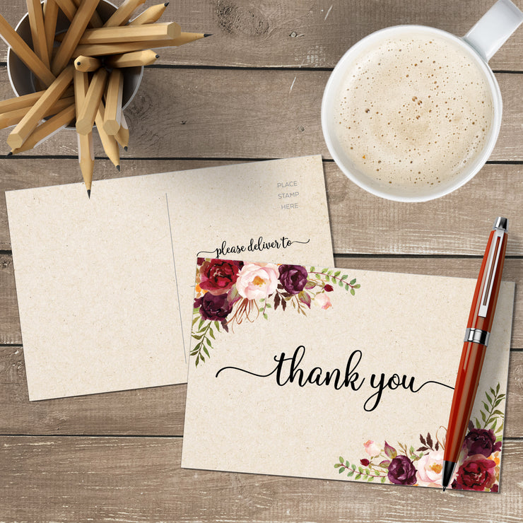 Thank You Postcards - Red Roses, Tan
