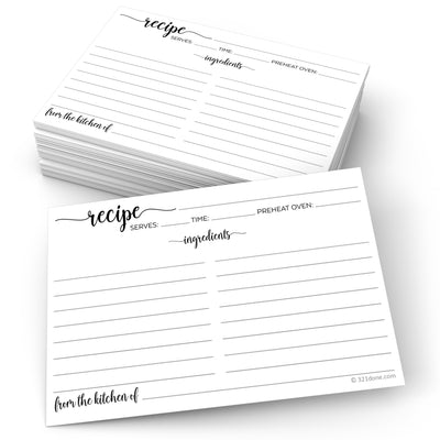 White Recipe Cards