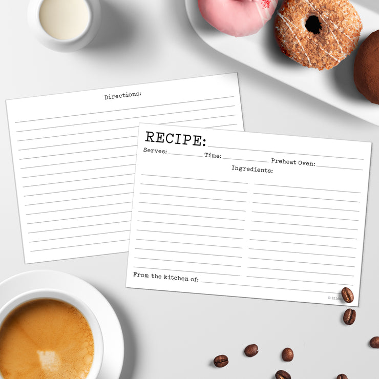 Recipe Cards - 5x7 - Typewriter, White