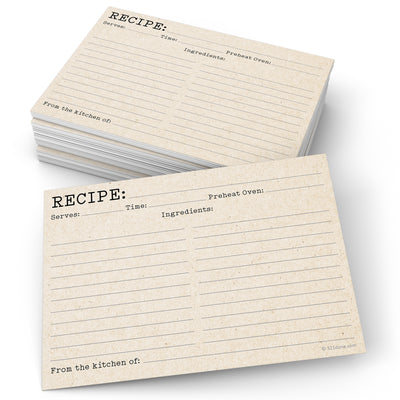 Recipe Cards - 5x7 - Typewriter, Tan