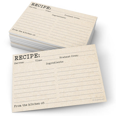 Recipe Cards - Typewriter, Tan
