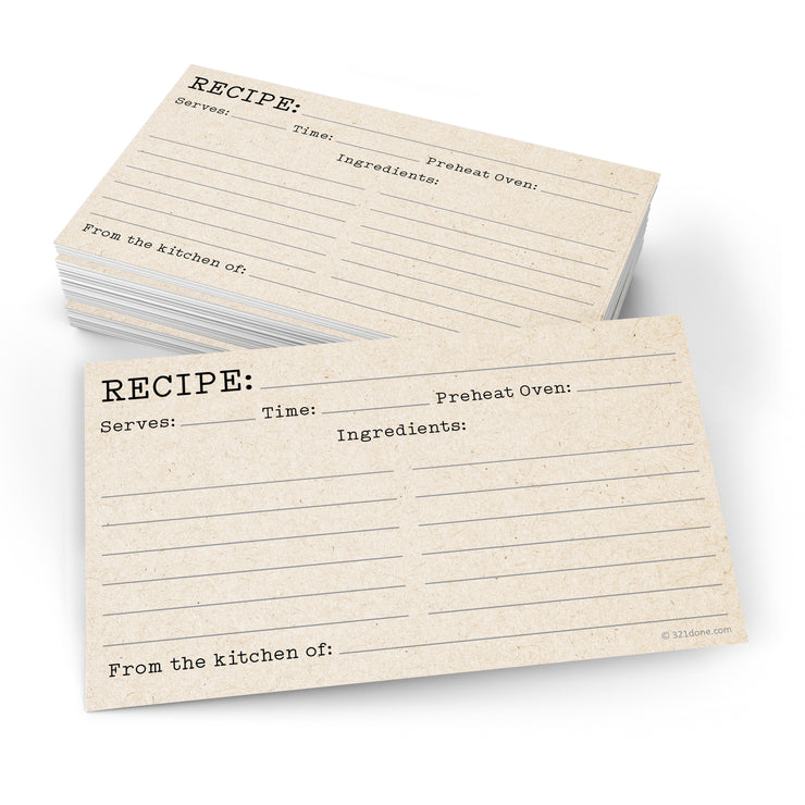 Recipe Cards - 3x5 - Typewriter, Tan