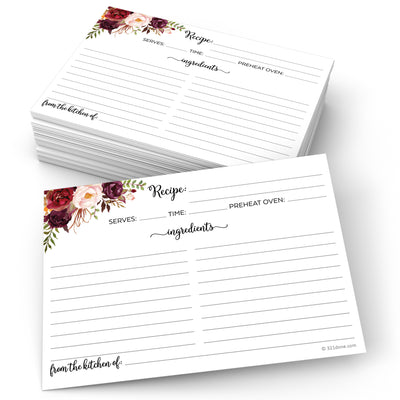 Recipe Cards - 5x7 - Red Roses, White (From Kitchen Of)