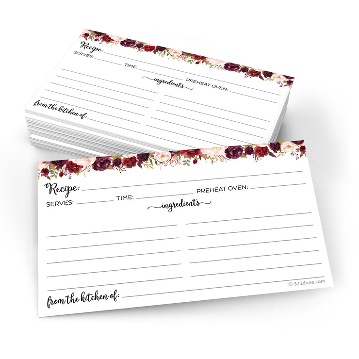 Recipe Cards - 3x5 - Red Roses, White