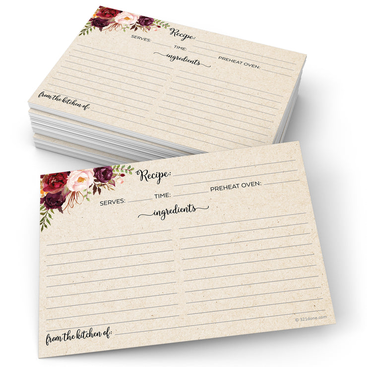 Recipe Cards - 5x7 - Red Roses, Tan (Classic Notes/From)