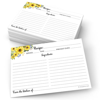 Recipe Cards - 5x7 - Sunflower, White