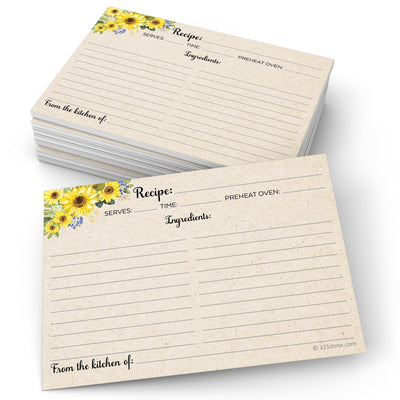Recipe Cards - 5x7 - Sunflower, Tan