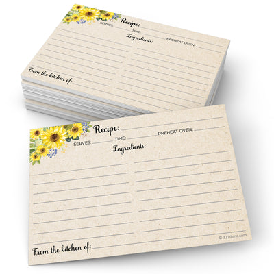 Recipe Cards - Sunflower, Tan
