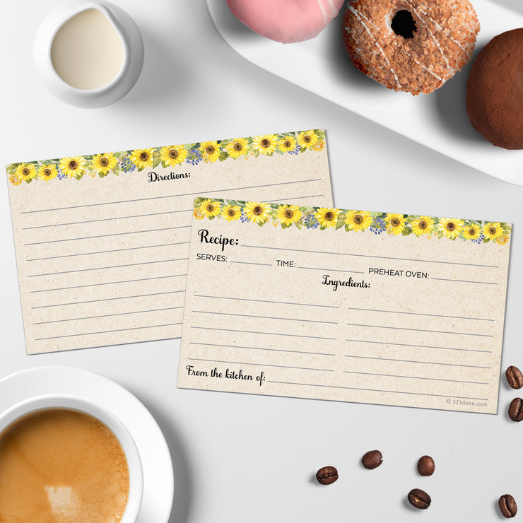Recipe Cards - 3x5 - Sunflower, Tan