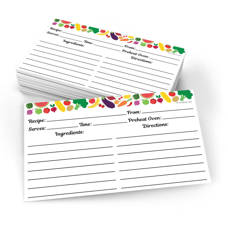Recipe Cards Fruits Vegetables