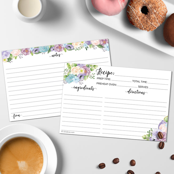 Recipe Cards - Floral Pastel, White