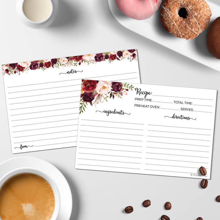 Recipe Cards - Red Roses, White (Classic Notes/From)