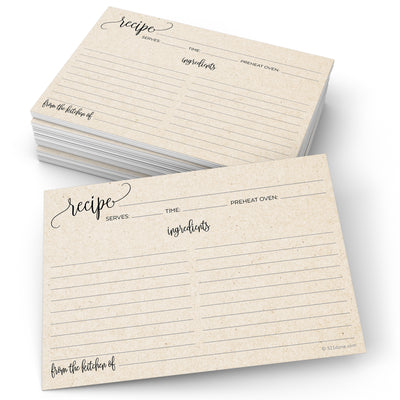 Recipe Cards - 5x7 - Modern Scribble, Tan