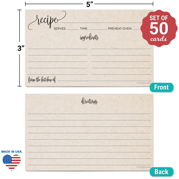 Recipe Cards - 3x5 - Modern Scribble, Tan