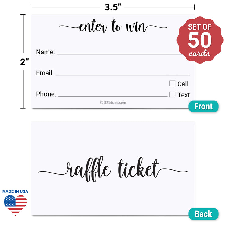 Raffle Ticket - Enter to Win, Three Lines, Name Phone Email, White