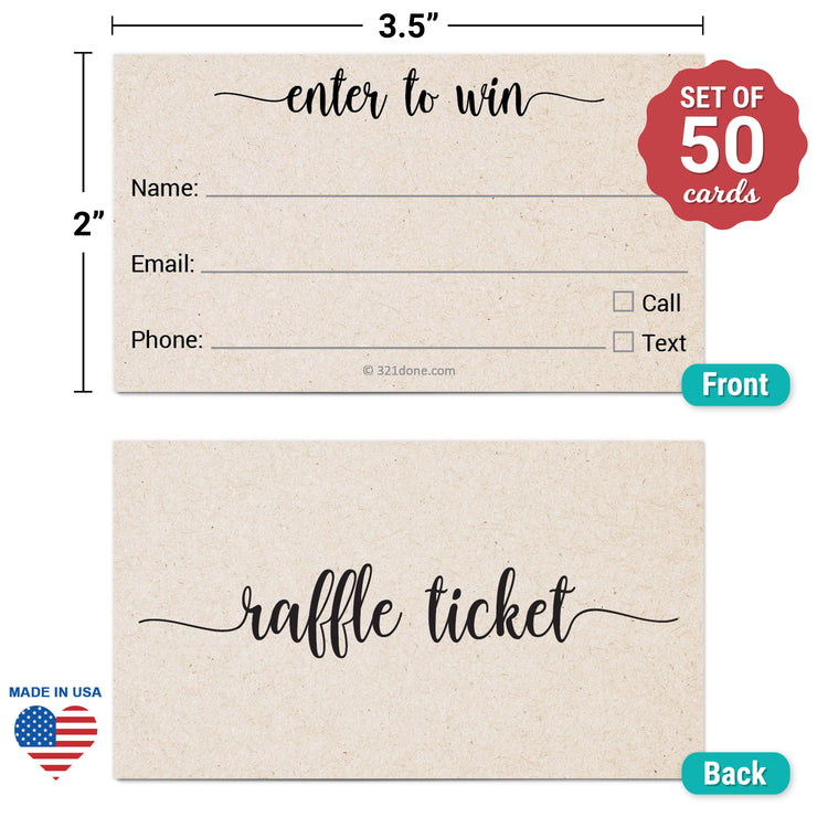 Raffle Ticket - Enter to Win, Three Lines, Name Phone Email, Tan